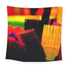 Plastic Brush Color Yellow Red Square Tapestry (large)