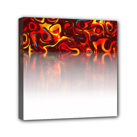 Effect Pattern Brush Red Mini Canvas 6  X 6