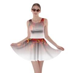 Effect Pattern Brush Red Skater Dress