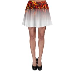 Effect Pattern Brush Red Skater Skirt