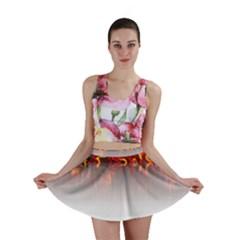 Effect Pattern Brush Red Mini Skirt