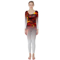 Effect Pattern Brush Red Long Sleeve Catsuit