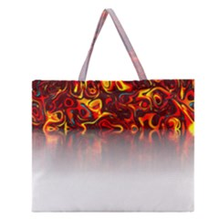 Effect Pattern Brush Red Zipper Large Tote Bag