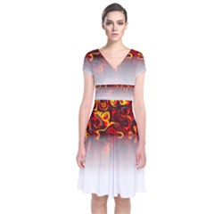 Effect Pattern Brush Red Short Sleeve Front Wrap Dress