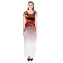 Effect Pattern Brush Red Short Sleeve Maxi Dress