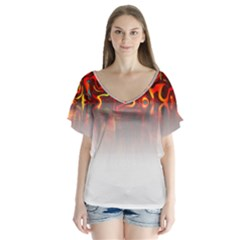 Effect Pattern Brush Red Flutter Sleeve Top