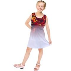 Effect Pattern Brush Red Kids  Tunic Dress