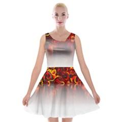 Effect Pattern Brush Red Velvet Skater Dress