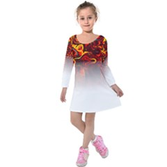 Effect Pattern Brush Red Kids  Long Sleeve Velvet Dress