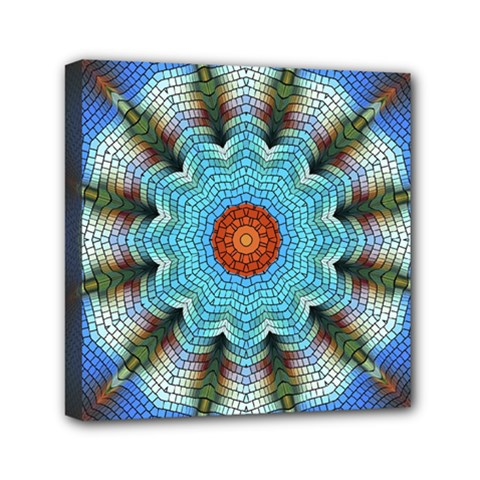 Pattern Blue Brown Background Mini Canvas 6  X 6