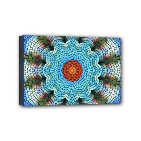 Pattern Blue Brown Background Mini Canvas 6  X 4