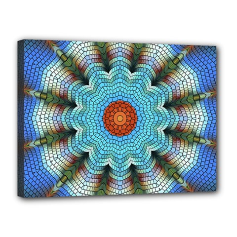 Pattern Blue Brown Background Canvas 16  X 12