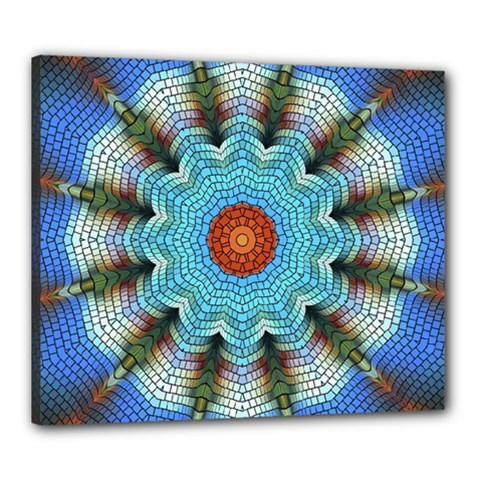 Pattern Blue Brown Background Canvas 24  X 20