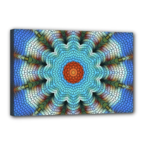 Pattern Blue Brown Background Canvas 18  X 12