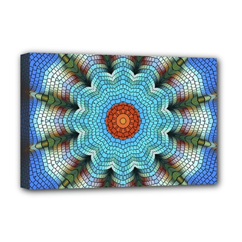 Pattern Blue Brown Background Deluxe Canvas 18  X 12