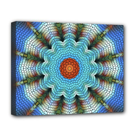 Pattern Blue Brown Background Deluxe Canvas 20  X 16