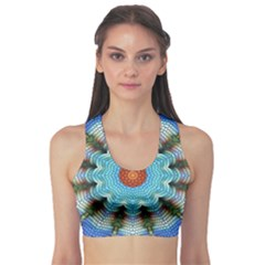 Pattern Blue Brown Background Sports Bra