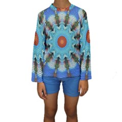 Pattern Blue Brown Background Kids  Long Sleeve Swimwear