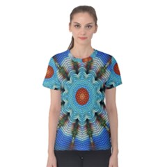 Pattern Blue Brown Background Women s Cotton Tee