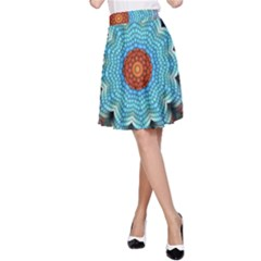 Pattern Blue Brown Background A Line Skirt