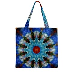 Pattern Blue Brown Background Zipper Grocery Tote Bag