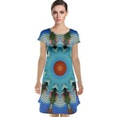 Pattern Blue Brown Background Cap Sleeve Nightdress