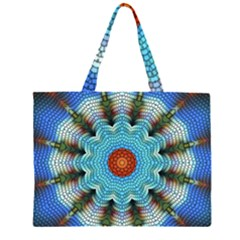 Pattern Blue Brown Background Large Tote Bag