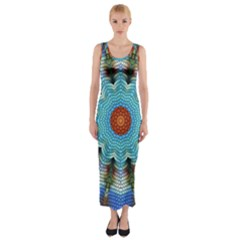 Pattern Blue Brown Background Fitted Maxi Dress
