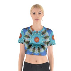 Pattern Blue Brown Background Cotton Crop Top