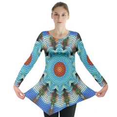 Pattern Blue Brown Background Long Sleeve Tunic