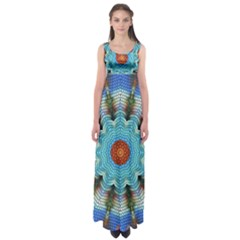 Pattern Blue Brown Background Empire Waist Maxi Dress