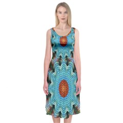 Pattern Blue Brown Background Midi Sleeveless Dress