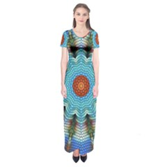 Pattern Blue Brown Background Short Sleeve Maxi Dress