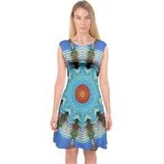 Pattern Blue Brown Background Capsleeve Midi Dress