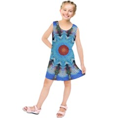 Pattern Blue Brown Background Kids  Tunic Dress