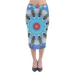 Pattern Blue Brown Background Velvet Midi Pencil Skirt