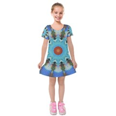 Pattern Blue Brown Background Kids  Short Sleeve Velvet Dress