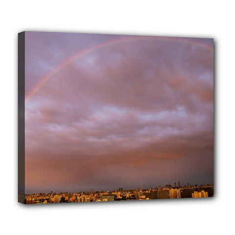 Rain Rainbow Pink Clouds Deluxe Canvas 24  X 20