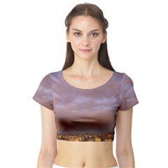 Rain Rainbow Pink Clouds Short Sleeve Crop Top (tight Fit)