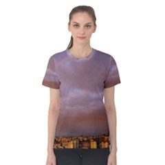 Rain Rainbow Pink Clouds Women s Cotton Tee
