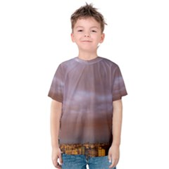 Rain Rainbow Pink Clouds Kids  Cotton Tee