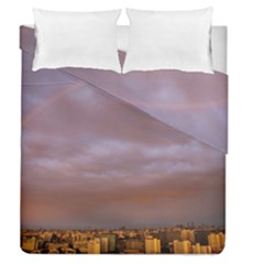 Rain Rainbow Pink Clouds Duvet Cover Double Side (queen Size)