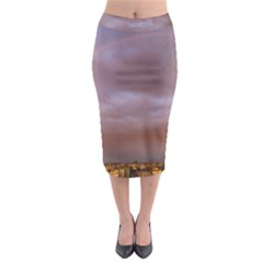 Rain Rainbow Pink Clouds Midi Pencil Skirt