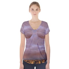 Rain Rainbow Pink Clouds Short Sleeve Front Detail Top