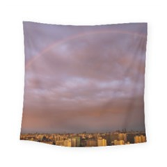Rain Rainbow Pink Clouds Square Tapestry (small)