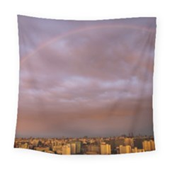 Rain Rainbow Pink Clouds Square Tapestry (large)