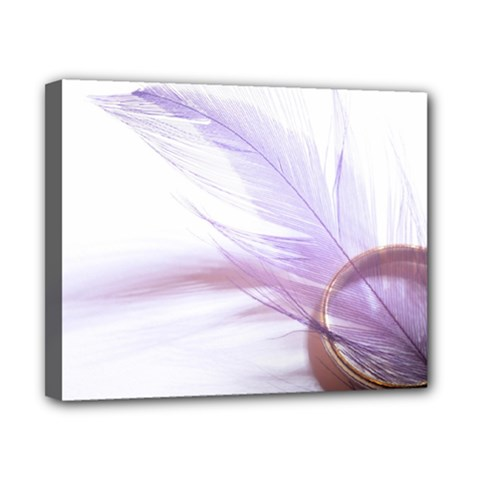 Ring Feather Marriage Pink Gold Canvas 10  X 8