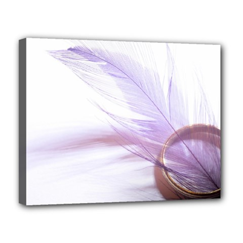 Ring Feather Marriage Pink Gold Canvas 14  X 11