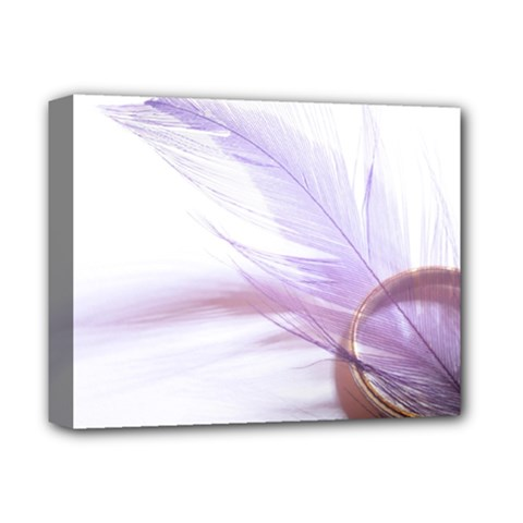 Ring Feather Marriage Pink Gold Deluxe Canvas 14  X 11