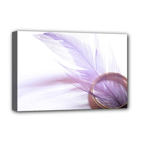 Ring Feather Marriage Pink Gold Deluxe Canvas 18  X 12